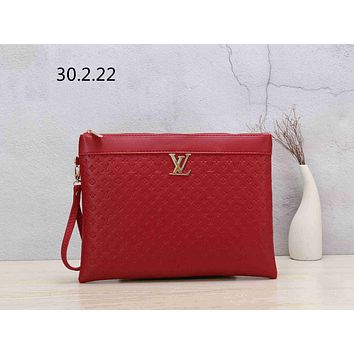 LV street fashion men's and women's clutch bag envelope Red