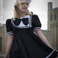 Gloomth- Goth Sailor Dress, Uniform, Navy, Cap, Bow