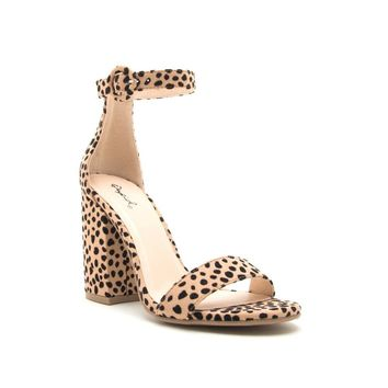 Women's Leopard Print One Band Ankle Strap Heel