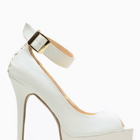Shoe Republic LA White Peep Toe Corset Pumps