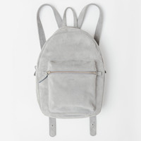 Leather Backpack Grey Suede