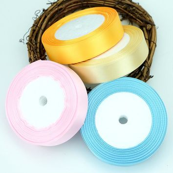 25MM 28 Colors Pretty Silk Satin Ribbon 22M Wedding Party Decoration Invitation Card Gift Wrapping Scrapbooking Supplies Riband