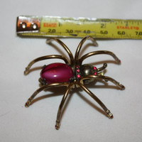 Art Deco Spider Brooch Jelly Belly Large Insect Figural 1940s Jewelry