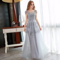 2017 Elegant Gray Beading Lace Long Prom Dresses mother of the bride festa dresses Formal Gowns Prom Dresses