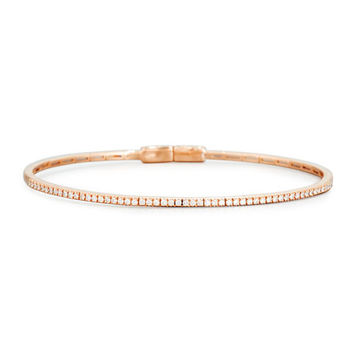 RIVIERE & CO. Pavé White Diamond Bangle in 18K Rose Gold