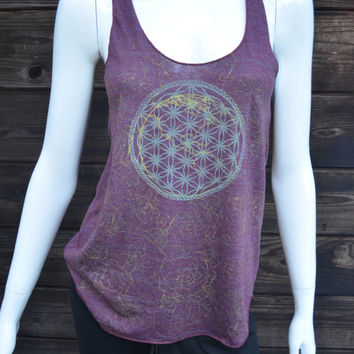 Women's Racerback - Glow in the Dark Flower of Life and Earth Design - One of a kind - Rose and Sacred geometry