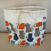 Linen Bag with Cats- Handmade Linen bag- All purpose Bag-Craft Bag-Pajama bag-PJ bag