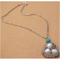Bird Nest and Pearl Turquoise Necklace by turquoisecity on Etsy