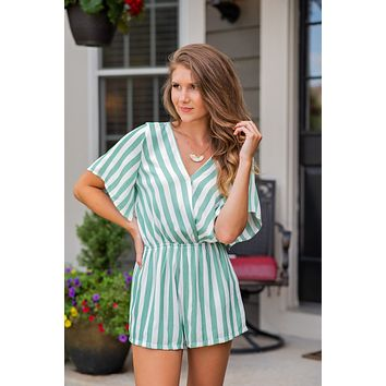 Little Miss Priss Striped Surplice Romper : Green