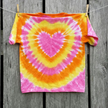 Girls Tie Dye Heart Shirt, Available Sizes XS S M L XL, Pink Orange and Yellow Tie Dye Tshirt