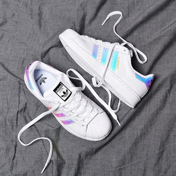 Adidas Superstar Shell Toe Colorful Laser Casual Sneakers-1