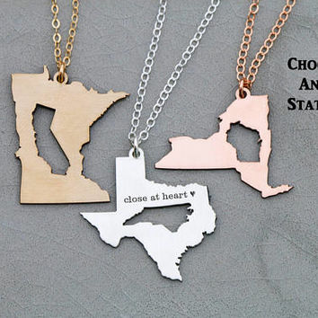 FREE SHIP • Best Friend Gift Girlfriend Necklace • Going Away Gift Moving Long Distance Relationship Gift Friendship Jewelry State Necklace