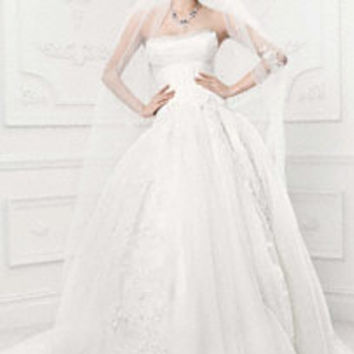 Tulle Mermaid Gown with Satin Lattice Detail