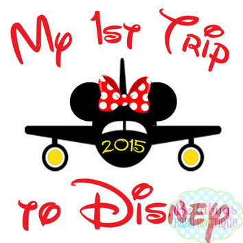 Airplane Minnie First Disney Trip IRON ON TRANSFER - Tshirt - Bodysuit - Tote Bags - First Disney Trip - Disney Birthday