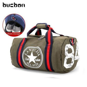 Bucbon Classic Canvas Cylinder Shoes Storage Sports Bag For Gym Fitness Travel Women M