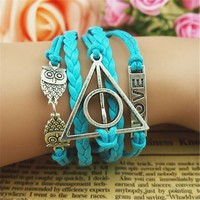 MagicPieces Owls Deathly Hallows Braid Love 5 Layers Blue Handmade MultiLayered Bracelet DP0516
