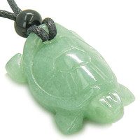 Amulet Lucky Charm Turtle Green Quartz Healing Powers Pendant Necklace