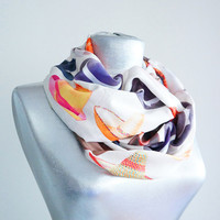 Handmade Hat Infinity Scarf - Summer Soft Cotton Scarf - Colorful