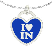 I Love Indiana Sterling Silver Heart Necklace