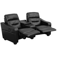 Flash Furniture Futura Series 2-Seat Reclining Black Leather Theater Seating Unit with Cup Holders [BT-70380-2-BK-GG]
