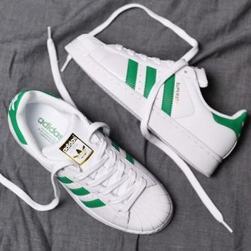 """Adidas"" Superstar Fashion Women Men Leisure Shell-toe Sport Shoe Sneakers White(Green Line Gold Logo) I"