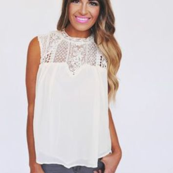 Ivory Lace Top Tank