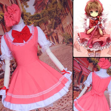 2016   Made Halloween Costume Women Japan Girls Pink color Maid Lolita Sakura Card Captor Cosplay Costumes Dress + Cap