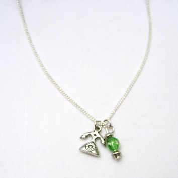 Silver Rotary  style telephone necklace  phone with glow in the dark glass bead