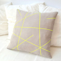 Beige linen pillow cover with neon yellow stripes  Mikado Series