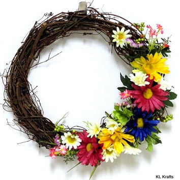 Spring Grapevine Wreath- Wildflowers Wreath- Vine Wreath- Spring Flowers- Spring Wreath- Fall Wreath