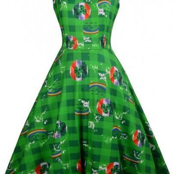 Green Patchwork St. Patrick's Day Pattern Sleeveless High Waisted Party Midi Dress
