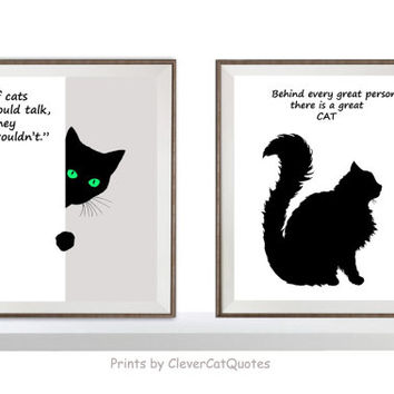 Cat illustration print Minimalist black and white Cat quotes Green eyes Wall art  Buy 1 take 2 Cat digital Instant download Cat print poster