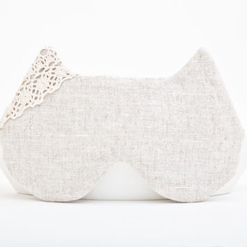 Flax Cat Sleep Mask, Many color variations, White
