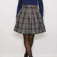 Navy plaid skirt Women short skirt High waist skirt with pockets Wool skirt