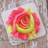 Flower Hair Clip, Neon Yellow Pink, Frayed Chiffon Hairclip, Children's Hair Accessories, Toddler Hair Clip, Girls Hairbow