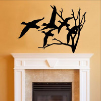 Ducks in Flight and Bare Tree Single Layer Vinyl Wall Decal 22217