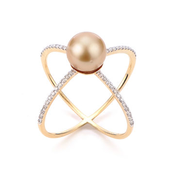 "IMPERIAL PEARLS BY JOSH BAZAR: GOLDEN SOUTH SEA PEARL & DIAMOND ""X"" RING IN 14K GOLD"