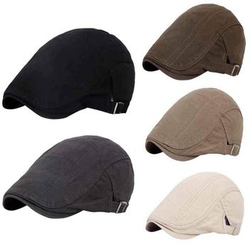 5de74789fa1 Solid Cotton Gatsby Cap Mens Ivy Hat Golf Driving Summer Sun Cabbie Newsboy  Hat