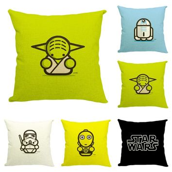 "Star War Cute Cartoon Characters Throw Pillow Cover Decorative Massager Pillows Linen Zip DIY Home Decor Gift""18X18''"