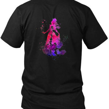 Aurora Sleeping Beauty Disney 2 Sided Black Mens T Shirt