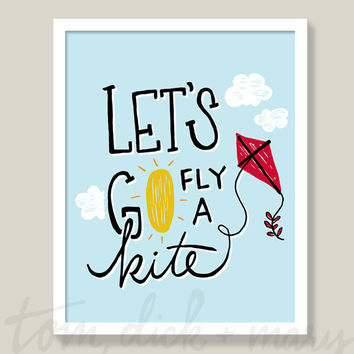 Let's Go Fly a Kite Art Print Mary Poppins Nursery Art Nursery Decor Wall Art Handmade