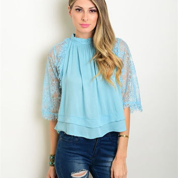Women Fashion Boho Sky Blue Blouse Top Shirt Dramatic Lace bell Sleeves Casual Relaxed Fit