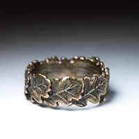 Oak Leaves Ring, brass, size 18 mm / US 7.5, handmade ..... Oak Leaf, Foliage Ring