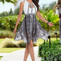 Asymmetrical printed dress
