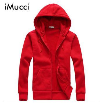 iMucci Red Sweatshirt Men Solid Color Women Hoodies Casual Side Zipper Mensports Slim Sportsware Tracksuit Black Hoody