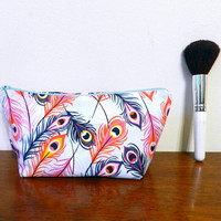 Pink, Orange and Dark Blue Peacock Feather Print Small Travel Makeup/Cosmetics/Toiletries/Vape Pen Bag/Pouch/Holder with Pale Blue Zipper