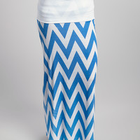 White & Blue Zigzag Maxi Skirt - Plus