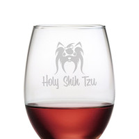 Holy Shih Tzu Stemless Wine Glasses