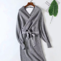 Women's Explosive Knit Skirt Autumn and Winter Sexy Lace V-neck Dress