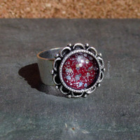 Antique Silver Ornate Red And Silver Glitter Glass Dome Ring